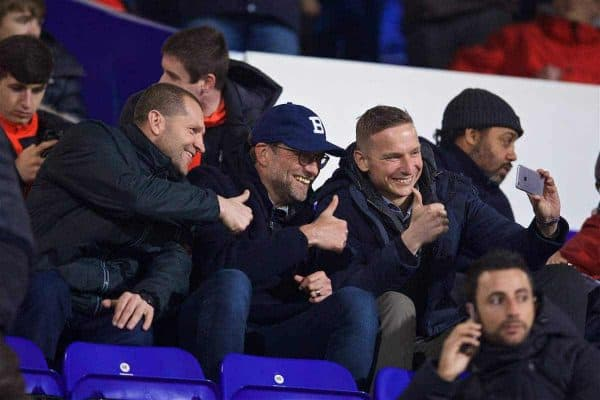 BIRKENHEAD, ENGLAND - Monday, March 13, 2017: Liverpool coach Pepijn Lijnders takes a selfie with manager Jürgen Klopp and goalkeeping coach John Achterberg during the Under-23 FA Premier League 2 Division 1 match against Chelsea at Prenton Park. (Pic by David Rawcliffe/Propaganda)