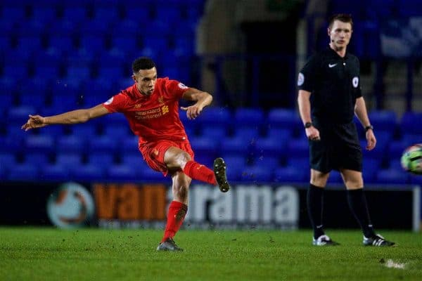 BIRKENHEAD, ENGLAND - Monday, March 13, 2017: Liverpool's Trent Alexander-Arnold scores the second goal against Chelsea from a free-kick during the Under-23 FA Premier League 2 Division 1 match at Prenton Park. (Pic by David Rawcliffe/Propaganda)