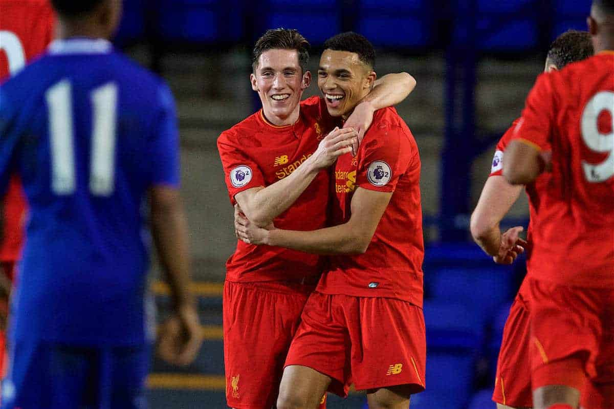 BIRKENHEAD, ENGLAND - Monday, March 13, 2017: Liverpool's Trent Alexander-Arnold celebrates scoring the second goal against Chelsea with team-mate captain Harry Wilson during the Under-23 FA Premier League 2 Division 1 match at Prenton Park. (Pic by David Rawcliffe/Propaganda)