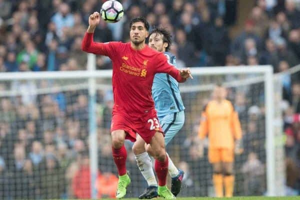 MANCHESTER, ENGLAND - Sunday, March 19, 2017: Liverpool's Emre Can in action against Manchester City's David Silva during the FA Premier League match at the City of Manchester Stadium. (Pic by Gavin Trafford/Propaganda)