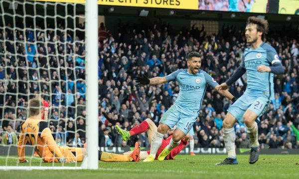 MANCHESTER, ENGLAND - Sunday, March 19, 2017: Manchester City's Sergio Aguero scores his teams equalising goal during the FA Premier League match against Liverpool at the City of Manchester Stadium. (Pic by Gavin Trafford/Propaganda)