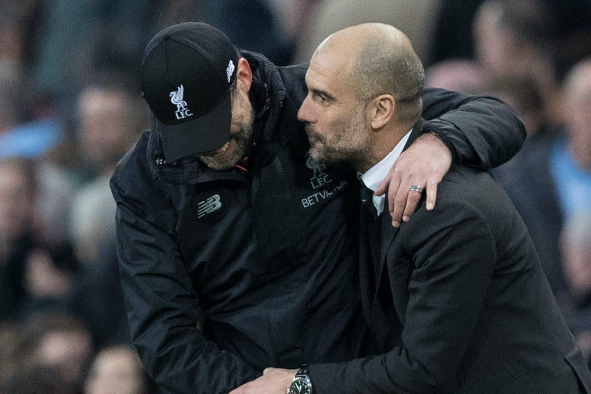 Liverpool's Manager J¸rgen Klopp and Manchester City's Manager Manager Pep Guardiola after the FA Premier League match at the City of Manchester Stadium. (Pic by Gavin Trafford/Propaganda)