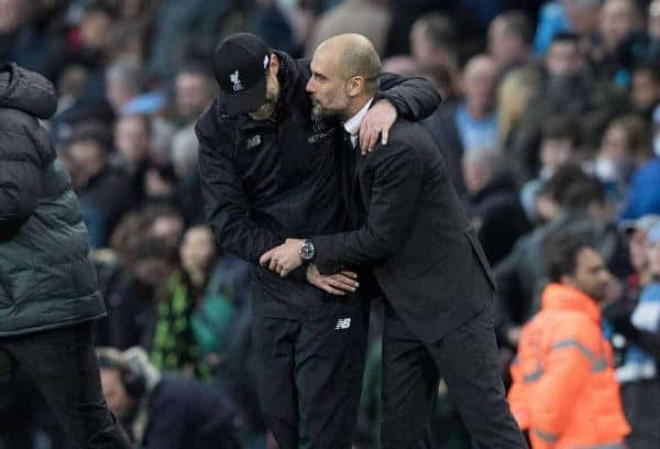 MANCHESTER, ENGLAND - Sunday, March 19, 2017: Liverpool's Manager Jürgen Klopp and Manchester City's Manager Manager Pep Guardiola after the FA Premier League match at the City of Manchester Stadium. (Pic by Gavin Trafford/Propaganda)