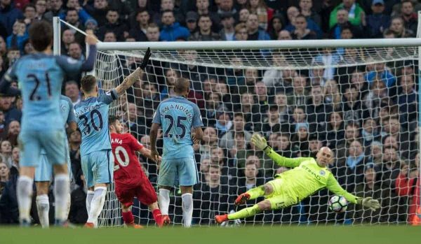 MANCHESTER, ENGLAND - Sunday, March 19, 2017: Liverpool's Adam Lallana in action against Manchester City's Willy Caballero during the FA Premier League match at the City of Manchester Stadium. (Pic by Gavin Trafford/Propaganda)