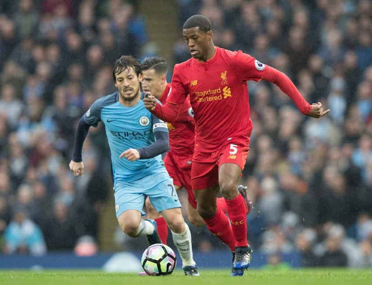 MANCHESTER, ENGLAND - Sunday, March 19, 2017: Liverpool's Georginio Wijnaldum in action against Manchester City's David Silva during the FA Premier League match at the City of Manchester Stadium. (Pic by Gavin Trafford/Propaganda)