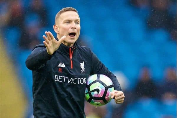 MANCHESTER, ENGLAND - Sunday, March 19, 2017: Liverpool's first-team development coach Pepijn Lijnders during the warm-up before the FA Premier League match against Manchester City at the City of Manchester Stadium. (Pic by David Rawcliffe/Propaganda)