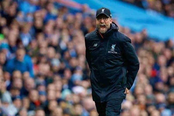 MANCHESTER, ENGLAND - Sunday, March 19, 2017: Liverpool's manager Jürgen Klopp reacts during the FA Premier League match against Manchester City at the City of Manchester Stadium. (Pic by David Rawcliffe/Propaganda)