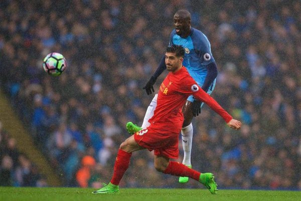 MANCHESTER, ENGLAND - Sunday, March 19, 2017: Liverpool's Emre Can in action against Manchester City's Yaya Toure during the FA Premier League match at the City of Manchester Stadium. (Pic by David Rawcliffe/Propaganda)