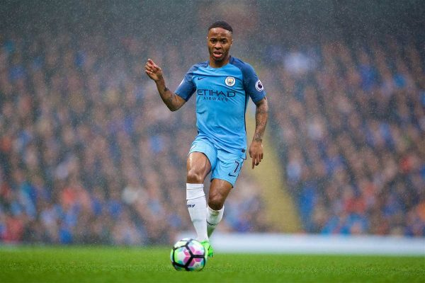 MANCHESTER, ENGLAND - Sunday, March 19, 2017: Manchester City's Raheem Sterling in action against Liverpool during the FA Premier League match at the City of Manchester Stadium. (Pic by David Rawcliffe/Propaganda)