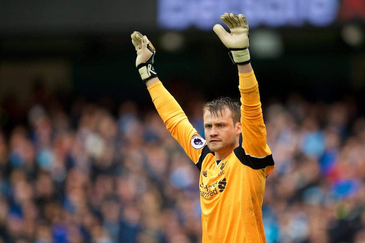 MANCHESTER, ENGLAND - Sunday, March 19, 2017: Liverpool's goalkeeper Simon Mignolet in action against Manchester City during the FA Premier League match at the City of Manchester Stadium. (Pic by David Rawcliffe/Propaganda)
