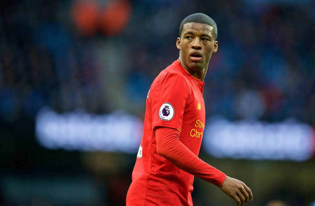 MANCHESTER, ENGLAND - Sunday, March 19, 2017: Liverpool's Georginio Wijnaldum in action against Manchester City during the FA Premier League match at the City of Manchester Stadium. (Pic by David Rawcliffe/Propaganda)