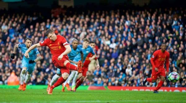 MANCHESTER, ENGLAND - Sunday, March 19, 2017: Liverpool's James Milner scores the first goal against Manchester City from the penalty spot during the FA Premier League match at the City of Manchester Stadium. (Pic by David Rawcliffe/Propaganda)