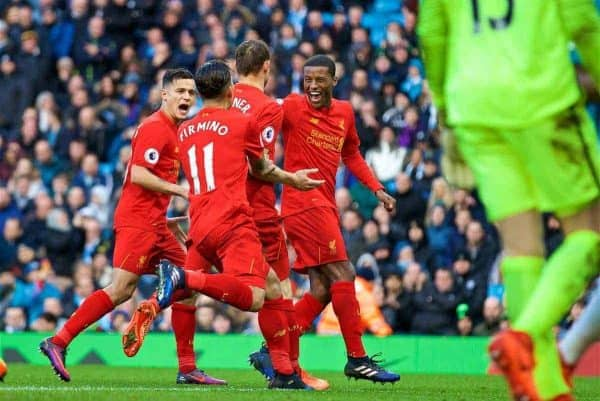 MANCHESTER, ENGLAND - Sunday, March 19, 2017: Liverpool's James Milner celebrates scoring the first goal against Manchester City from the penalty spot during the FA Premier League match at the City of Manchester Stadium. (Pic by David Rawcliffe/Propaganda)