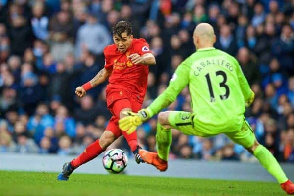 MANCHESTER, ENGLAND - Sunday, March 19, 2017: Liverpool's Roberto Firmino sees his shot saved by Manchester City's goalkeeper Willy Caballero during the FA Premier League match at the City of Manchester Stadium. (Pic by David Rawcliffe/Propaganda)