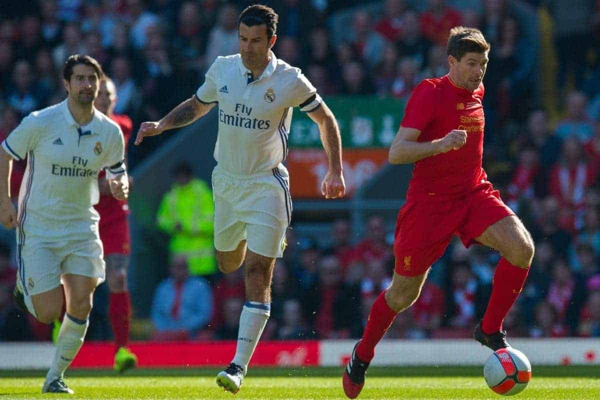 LIVERPOOL, ENGLAND - Saturday, March 25, 2017: Liverpoolís Steven Gerrard in action against Real Madrid during a Legends friendly match at Anfield. (Pic by Peter Powell/Propaganda)