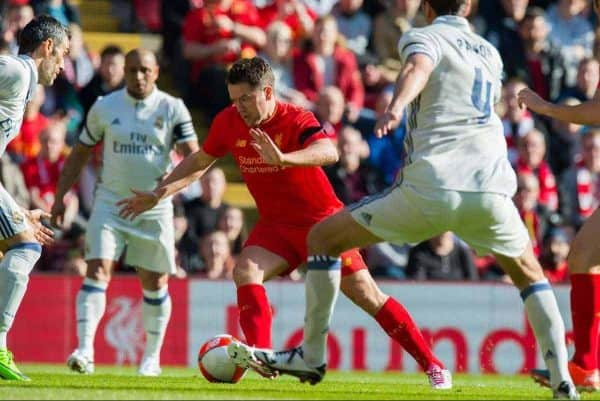Liverpool's Michael Owen in action against Real Madrid during a Legends friendly match at Anfield. (Pic by Peter Powell/Propaganda)