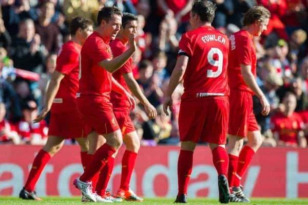 LIVERPOOL, ENGLAND - Saturday, March 25, 2017: Liverpool's Michael Owen is congratulated by Liverpool's Robbie Fowler after scoring the opening goal against Real Madrid during a Legends friendly match at Anfield. (Pic by Peter Powell/Propaganda)