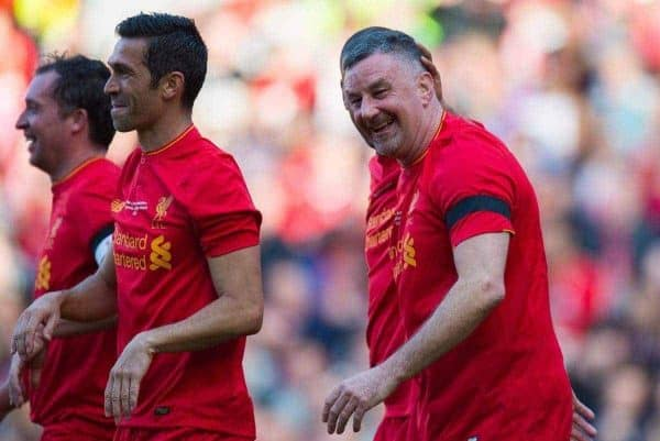 Liverpoolís John Aldridge is congratulated after scoring the second goal Real Madrid's Steve McManaman during a Legends friendly match at Anfield. (Pic by Peter Powell/Propaganda)