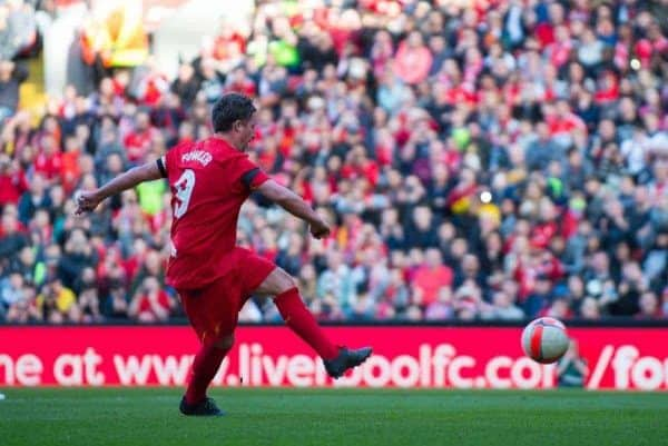 LIVERPOOL, ENGLAND - Saturday, March 25, 2017: Liverpoolís Robbie Fowler scores the third goal making the score against Real Madrid during a Legends friendly match at Anfield. (Pic by Peter Powell/Propaganda)