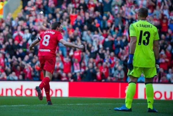 LIVERPOOL, ENGLAND - Saturday, March 25, 2017: Liverpool's Steven Gerrard celebrates scoring the fourth goal against Real Madrid during a Legends friendly match at Anfield. (Pic by Peter Powell/Propaganda)