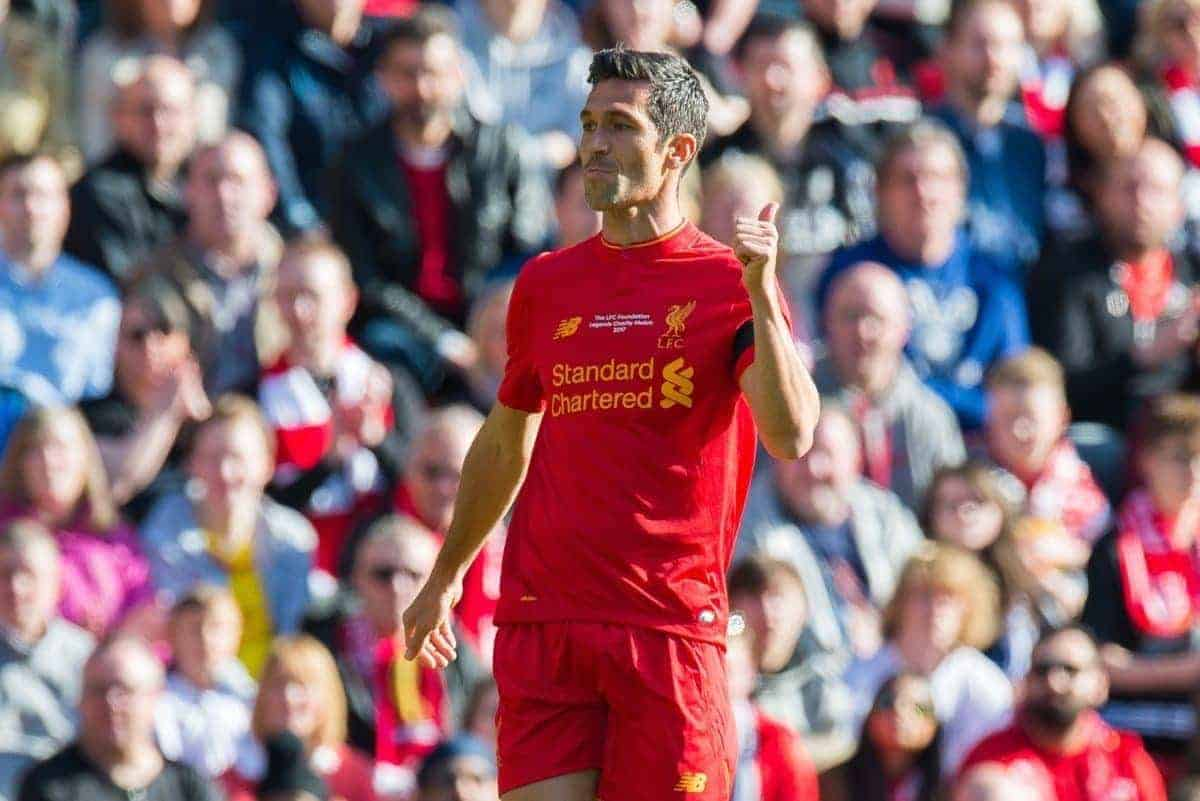 LIVERPOOL, ENGLAND - Saturday, March 25, 2017: Liverpoolís Luis Garcia in action against Real Madrid during a Legends friendly match at Anfield. (Pic by Peter Powell/Propaganda)