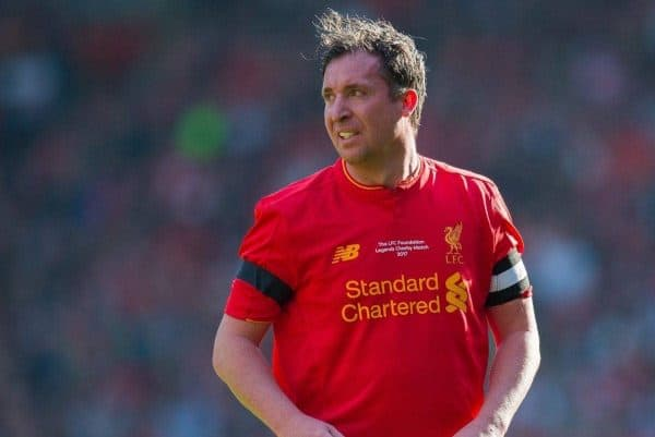 LIVERPOOL, ENGLAND - Saturday, March 25, 2017: Liverpoolís Robbie Fowler in action against Real Madrid's Michael Salgado during a Legends friendly match at Anfield. (Pic by Peter Powell/Propaganda)