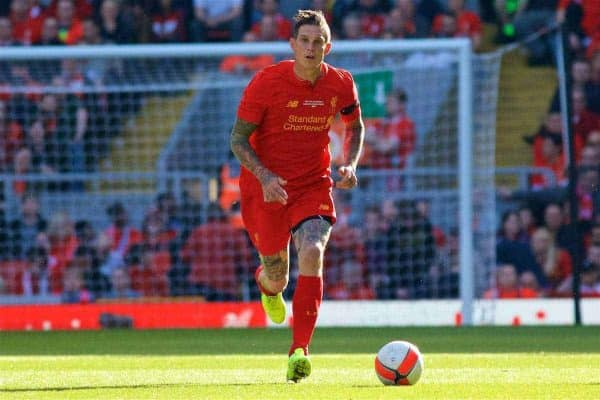 LIVERPOOL, ENGLAND - Saturday, March 25, 2017: Liverpool's Daniel Agger in action against Real Madrid during a Legends friendly match at Anfield. (Pic by Lexie Lin/Propaganda)