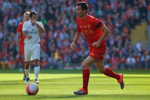 LIVERPOOL, ENGLAND - Saturday, March 25, 2017: Liverpool's Luis Garcia in action against Real Madrid during a Legends friendly match at Anfield. (Pic by Lexie Lin/Propaganda)