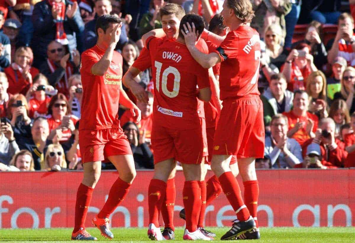 LIVERPOOL, ENGLAND - Saturday, March 25, 2017: Liverpool's Steven Gerrard celebrates scoring the first goal with team-mates during a Legends friendly match against Real Madrid at Anfield. (Pic by Lexie Lin/Propaganda)
