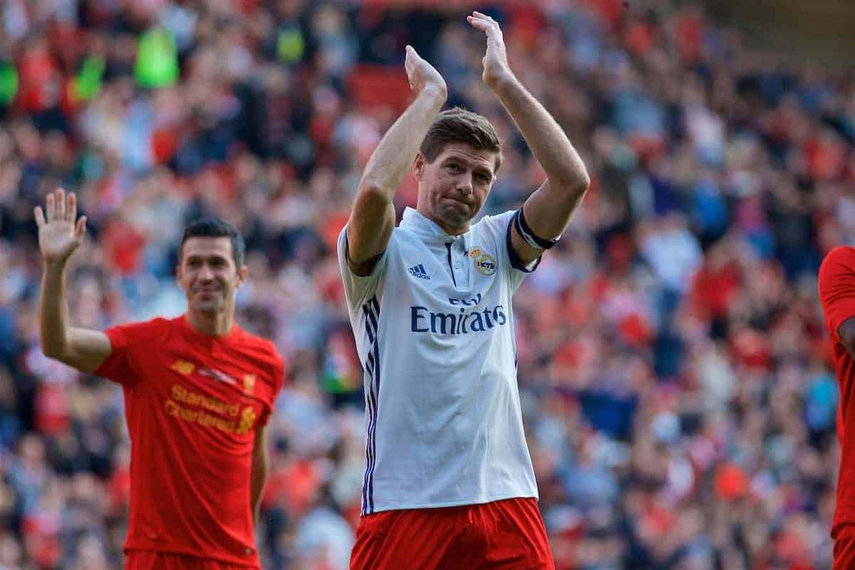 LIVERPOOL, ENGLAND - Saturday, March 25, 2017: Liverpool's Captain Steven Gerrard thanking fans after the Legends friendly match against Real Madrid at Anfield. (Pic by Lexie Lin/Propaganda)