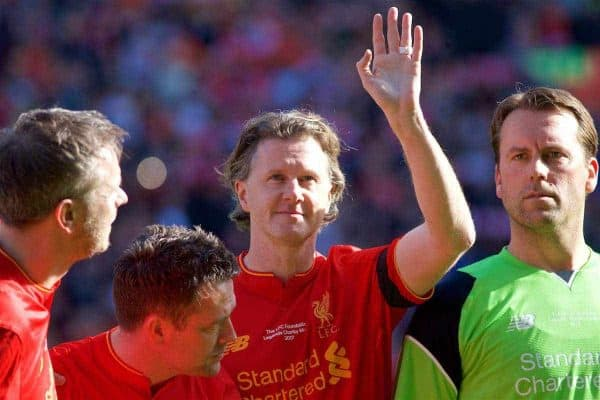 LIVERPOOL, ENGLAND - Saturday, March 25, 2017: Liverpool's Steve McManaman waving to fans before a Legends friendly match against Real Madrid at Anfield. (Pic by Lexie Lin/Propaganda)