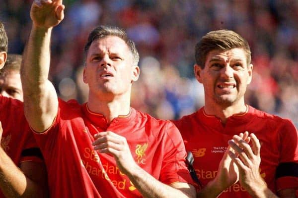 Liverpool's Jamie Carragher and Steven Gerrard during a Legends friendly match against Real Madrid at Anfield. (Pic by Lexie Lin/Propaganda)