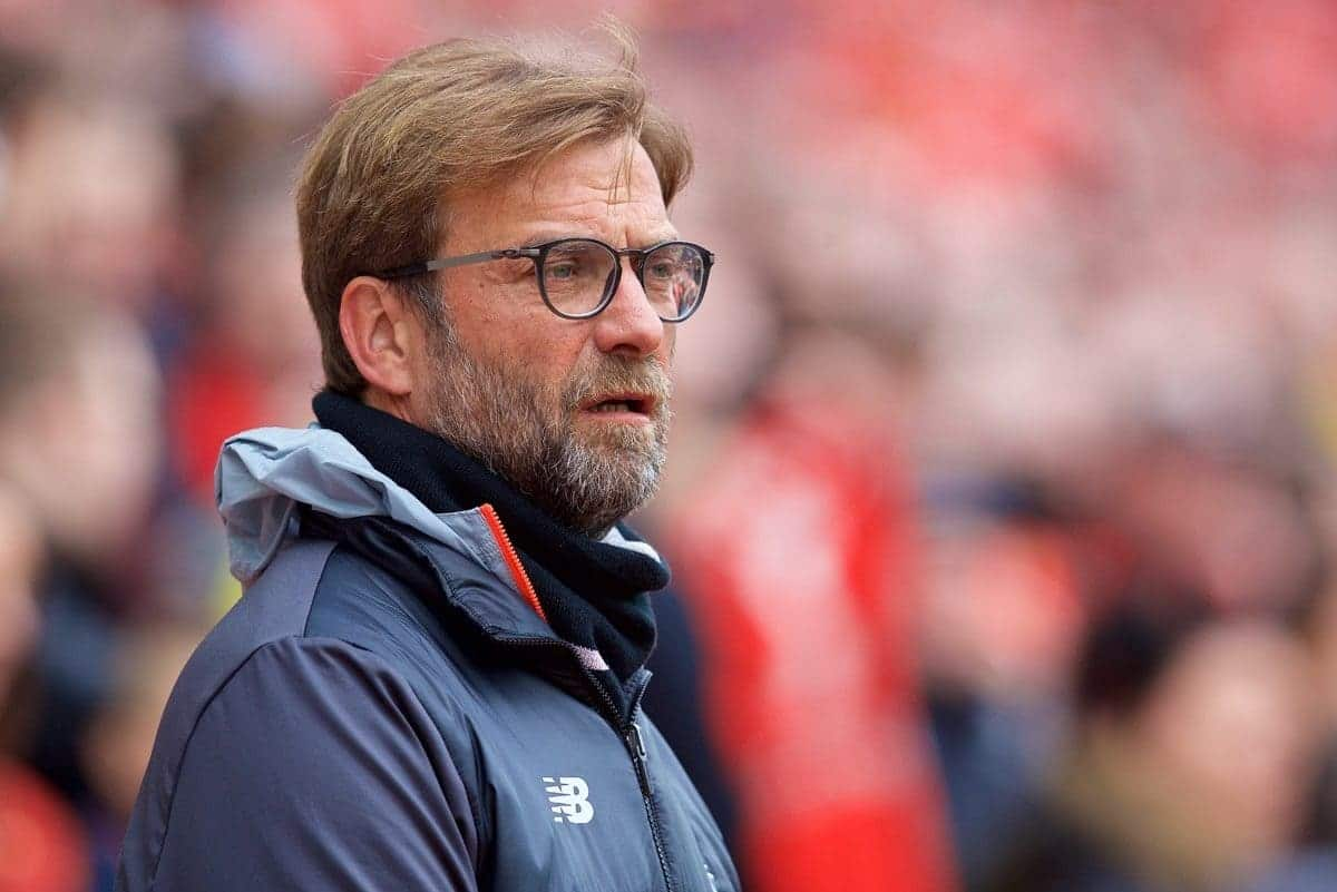 LIVERPOOL, ENGLAND - Saturday, April 1, 2017: Liverpool's manager J¸rgen Klopp before the FA Premier League match, the 228th Merseyside Derby, against Everton at Anfield. (Pic by David Rawcliffe/Propaganda)