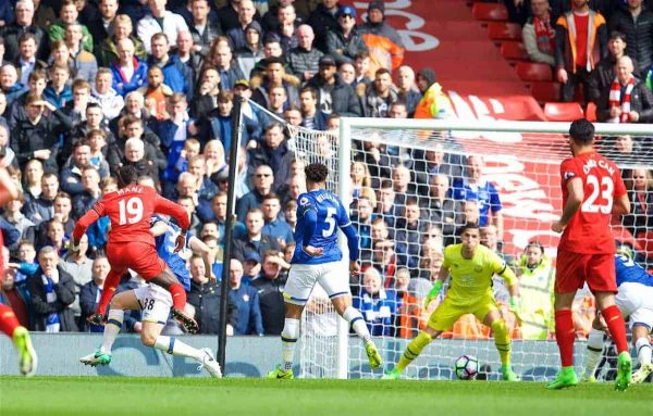 LIVERPOOL, ENGLAND - Saturday, April 1, 2017: Liverpool's Sadio Mane scores the first goal against Everton during the FA Premier League match, the 228th Merseyside Derby, at Anfield. (Pic by David Rawcliffe/Propaganda)