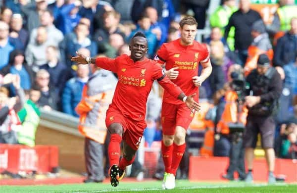 LIVERPOOL, ENGLAND - Saturday, April 1, 2017: Liverpool's Sadio Mane celebrates scoring the first goal against Everton during the FA Premier League match, the 228th Merseyside Derby, at Anfield. (Pic by David Rawcliffe/Propaganda)
