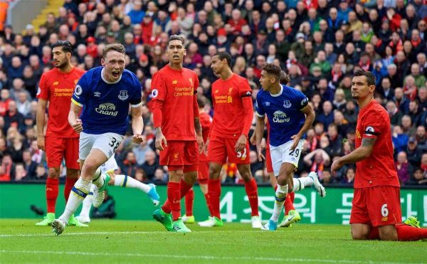 LIVERPOOL, ENGLAND - Saturday, April 1, 2017: Everton's Matthew Pennington celebrates scoring the first equalising goal against Liverpool during the FA Premier League match, the 228th Merseyside Derby, at Anfield. (Pic by David Rawcliffe/Propaganda)