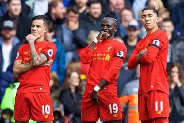 LIVERPOOL, ENGLAND - Saturday, April 1, 2017: Liverpool's Philippe Coutinho Correia celebrates scoring the second goal against Everton with team-mate Sadio Mane and Roberto Firmino during the FA Premier League match, the 228th Merseyside Derby, at Anfield. (Pic by David Rawcliffe/Propaganda)