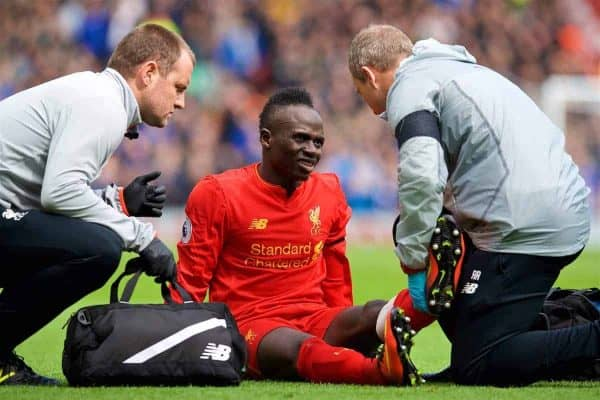 LIVERPOOL, ENGLAND - Saturday, April 1, 2017: Liverpool's Sadio Mane injured during the FA Premier League match, against Everton the 228th Merseyside Derby, at Anfield. (Pic by David Rawcliffe/Propaganda)