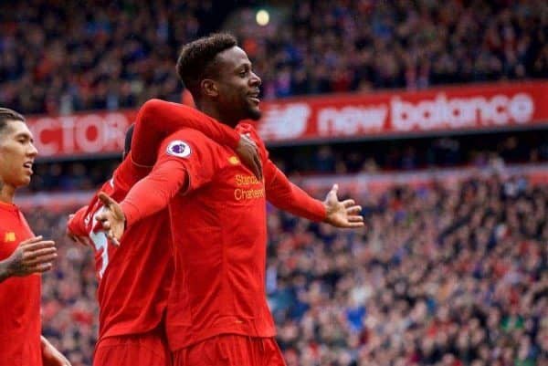 LIVERPOOL, ENGLAND - Saturday, April 1, 2017: Liverpool's Divock Origi celebrates scoring the third goal against Everton during the FA Premier League match, the 228th Merseyside Derby, at Anfield. (Pic by David Rawcliffe/Propaganda)