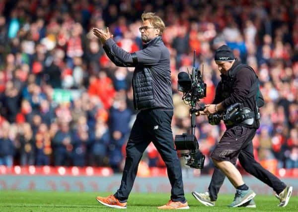 LIVERPOOL, ENGLAND - Saturday, April 1, 2017: Liverpool's manager Jürgen Klopp celebrates his side's 3-1 victory over Everton during the FA Premier League match, the 228th Merseyside Derby, at Anfield. (Pic by David Rawcliffe/Propaganda)