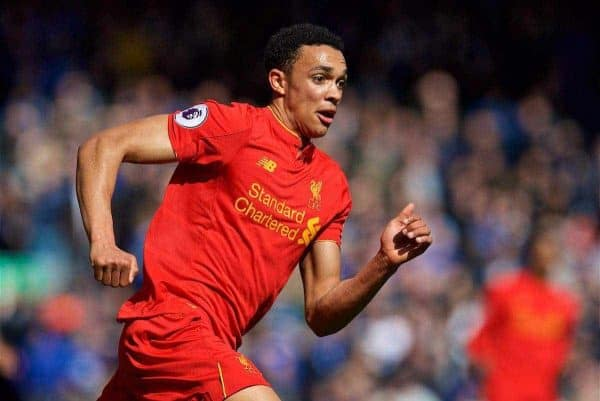 LIVERPOOL, ENGLAND - Saturday, April 1, 2017: Liverpool's Trent Alexander-Arnold in action against Everton during the FA Premier League match, the 228th Merseyside Derby, at Anfield. (Pic by David Rawcliffe/Propaganda)