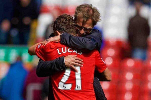 LIVERPOOL, ENGLAND - Saturday, April 1, 2017: Liverpool's manager Jürgen Klopp embraces Lucas Leiva after the 3-1 victory over Everton during the FA Premier League match, the 228th Merseyside Derby, at Anfield. (Pic by David Rawcliffe/Propaganda)