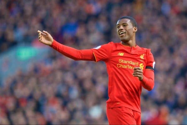 LIVERPOOL, ENGLAND - Saturday, April 1, 2017: Liverpool's Georginio Wijnaldum in action against Everton during the FA Premier League match, the 228th Merseyside Derby, at Anfield. (Pic by David Rawcliffe/Propaganda)