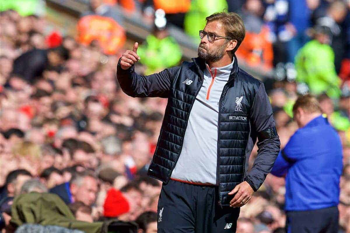LIVERPOOL, ENGLAND - Saturday, April 1, 2017: Liverpool's manager Jürgen Klopp gives a thumbs-up as his side beat Everton 3-1 during the FA Premier League match, the 228th Merseyside Derby, at Anfield. (Pic by David Rawcliffe/Propaganda)