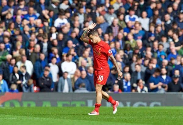 LIVERPOOL, ENGLAND - Saturday, April 1, 2017: Liverpool's Philippe Coutinho Correia waves to the supporters as he is given a standing ovation during the FA Premier League match, the 228th Merseyside Derby, against Everton at Anfield. (Pic by David Rawcliffe/Propaganda)