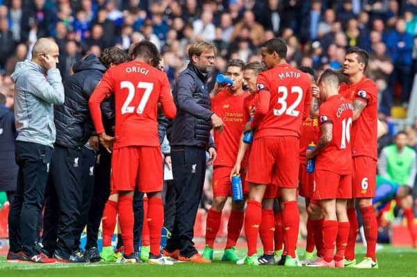 LIVERPOOL, ENGLAND - Saturday, April 1, 2017: Liverpool's manager Jürgen Klopp gives a team-talk on the pitch during the FA Premier League match, the 228th Merseyside Derby, against Everton at Anfield. (Pic by David Rawcliffe/Propaganda)