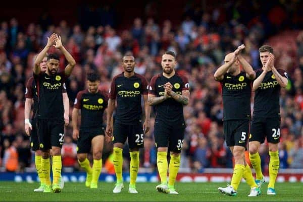 LONDON, ENGLAND - Sunday, April 2, 2017: Manchester City players look dejected after their 2-2 draw with Arsenal during the FA Premier League match at the Emirates Stadium. (Pic by David Rawcliffe/Propaganda)