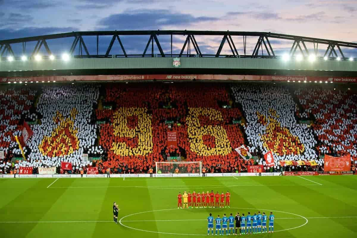 LIVERPOOL, ENGLAND - Wednesday, April 5, 2017: Liverpool supporters and players stand for a minute's applause to remember the victims of the Hillsborough Stadium Disaster, with the Spion Kop forming a 96 mosaic before the FA Premier League match at Anfield. (Pic by David Rawcliffe/Propaganda)