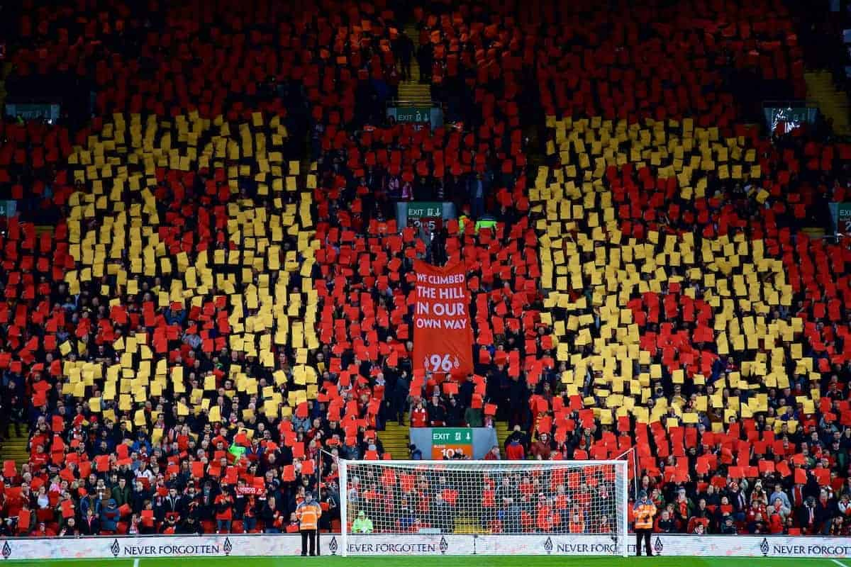 LIVERPOOL, ENGLAND - Wednesday, April 5, 2017: Liverpool supporters stand for a minute's applause to remember the victims of the Hillsborough Stadium Disaster, with the Spion Kop forming a 96 mosaic before the FA Premier League match at Anfield. (Pic by David Rawcliffe/Propaganda)