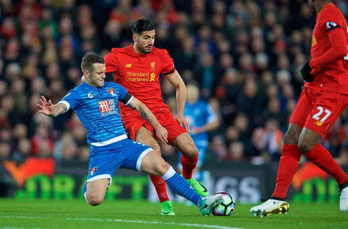 LIVERPOOL, ENGLAND - Wednesday, April 5, 2017: Liverpool's Emre Can in action against AFC Bournemouth's Jack Wilshere during the FA Premier League match at Anfield. (Pic by David Rawcliffe/Propaganda)